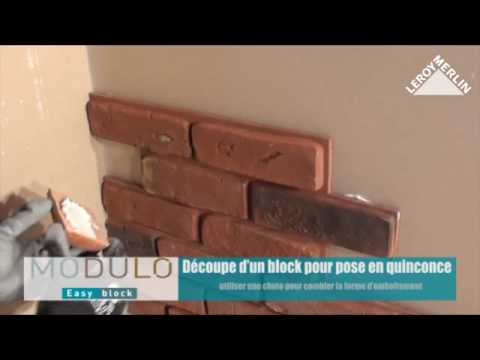 poser les plaquettes de parement easy bloc youtube. Black Bedroom Furniture Sets. Home Design Ideas