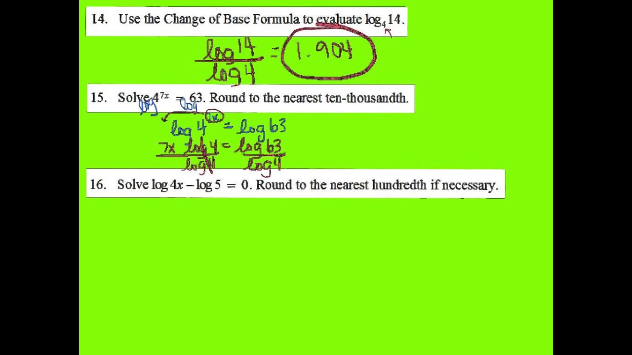 Algebra 2 Chapter 7 Review