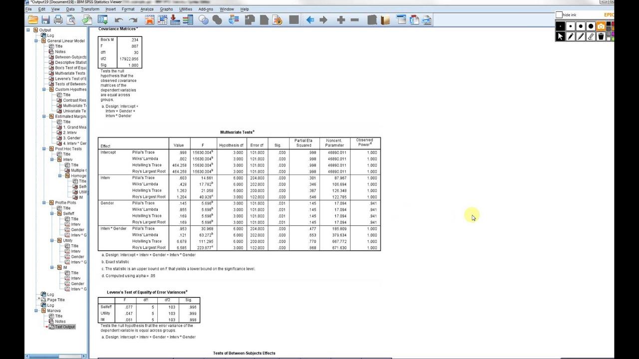 factorial MANOVA in SPSS vid 3 including stepdown analysis follow up