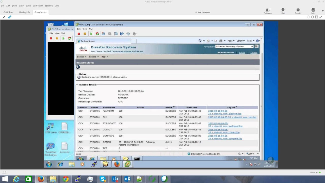 Watching a Communications Manager (CallManager) DRS Restore 7 1 3