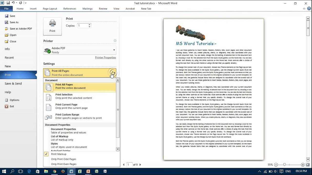 Page color doesnt print in word 2007 - Print Only Selected Text In Ms Word