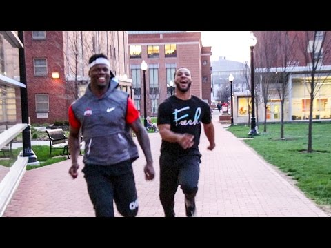 Ohio State Football Players (Jerome Baker #17) Race on Campus!!