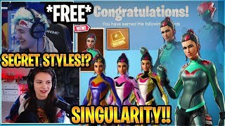 "Streamers Unlock the *NEW* FREE ""SINGULARITY SKIN"" (SEASON 9 Fortbyte) Fortnite ALL Styles"