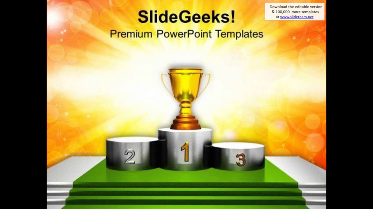trophy on winner podium powerpoint templates ppt backgrounds for, Presentation templates
