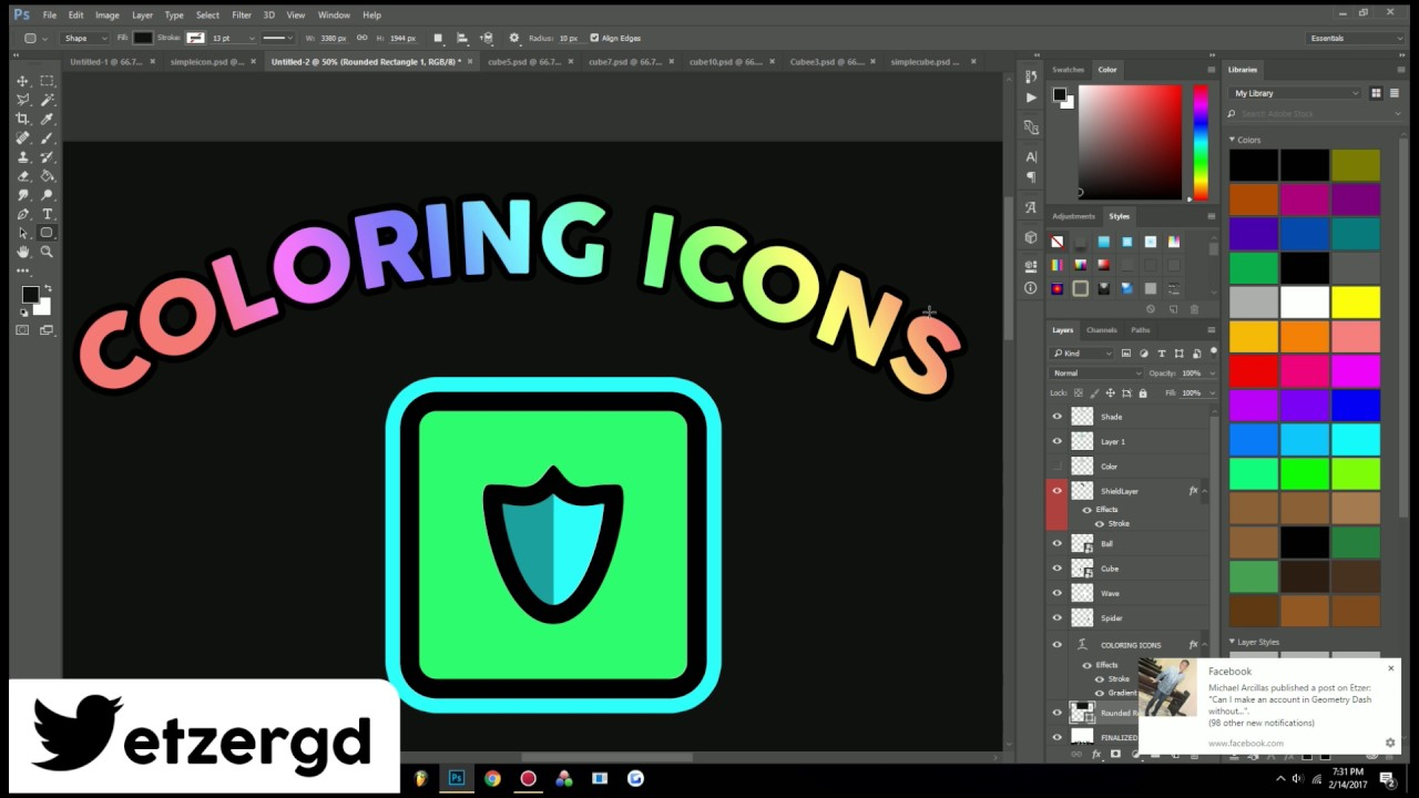 how to draw geometry dash icons