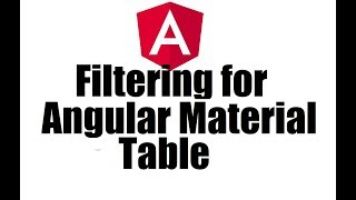 Angular 8 #12; Add Filtering for Angular Material Table