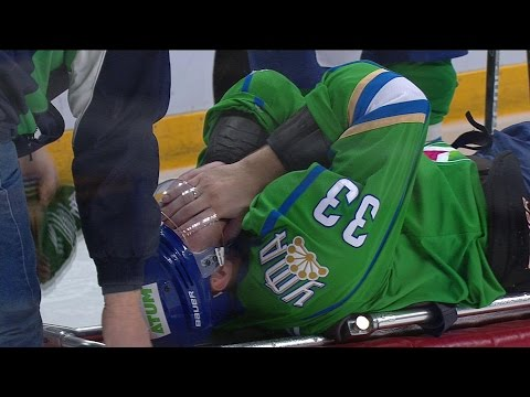 Ufa's Denis Bodrov suffers a knee injure