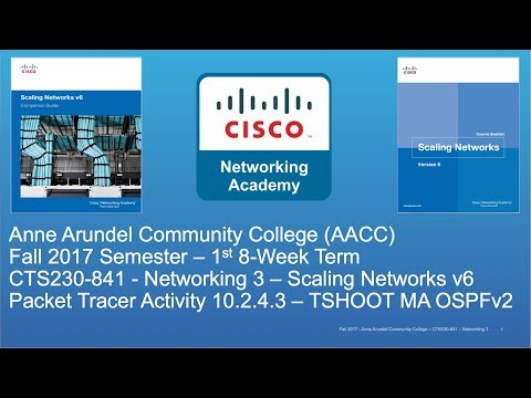 AACC - CTS230 - Scaling Networks v6 - Fall 2017 - TSHOOT Multiarea OSPFv2 10.2.4.3 - Week #7