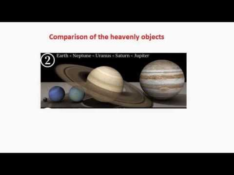 Comparison of the heavenly objects