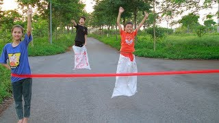 Kids go to School Play Bag Jumping Competition who's The Fastest   Song For Children
