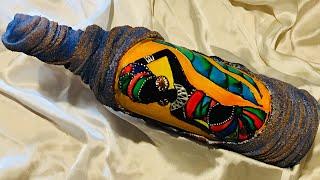 Bottle art/ antique bottle decoration/ altered bottle/ massai painting