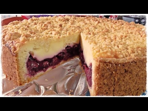 How to make a german CHERRY PIE with Créme fraîche and Crumbs | Cherry crumb cake
