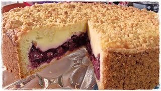 How to make a german CHERRY PIE with Créme fraîche and Crumbs   Cherry crumb cake