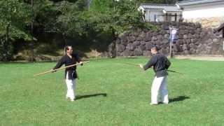 Kumi-bo Okinawa kobudo 組棒 沖縄古武道 無心舘 白石城での野外稽古
