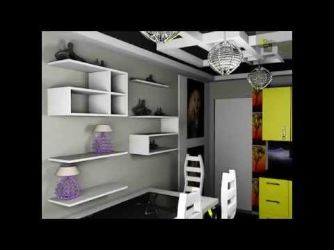Декор современной кухни, полки, картины, мебель, светильники, стол, стулья, шкафы