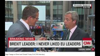 Nigel Farage Laughs at CNN interviewer after being asked about Clinton