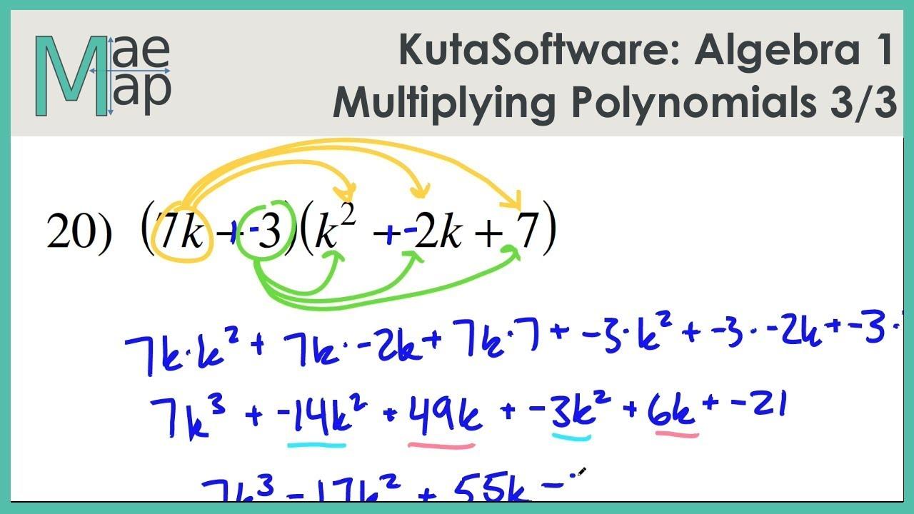 Kutasoftware Algebra 1 Multiplying Polynomials Part 3 Youtube