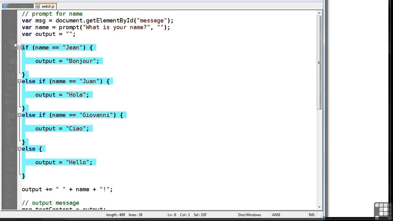 Javascript Programming Tutorial | Switch - YouTube
