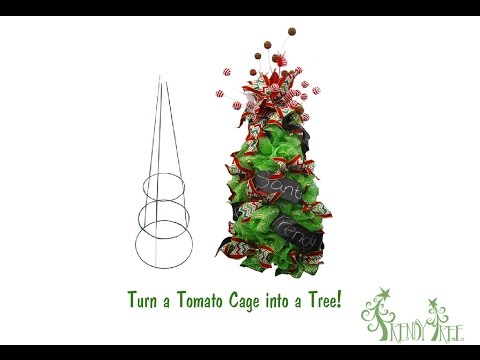 Make A Christmas Tree Using a Tomato Cage and Deco Poly Mesh