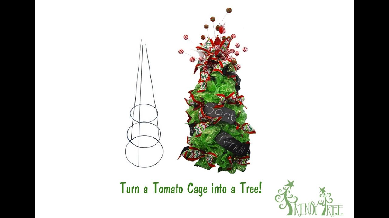 Make A Christmas Tree Using A Tomato Cage And Deco Poly