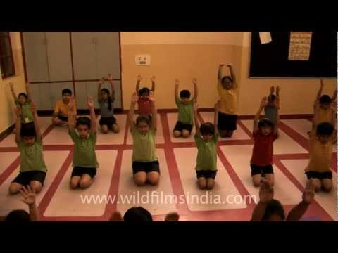 Yoga class for students at Shri Ram School, Vasant Vihar