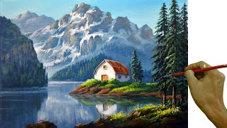 Acrylic Landscape Painting in Time-lapse / White Barn in the Lake / JMLisondra