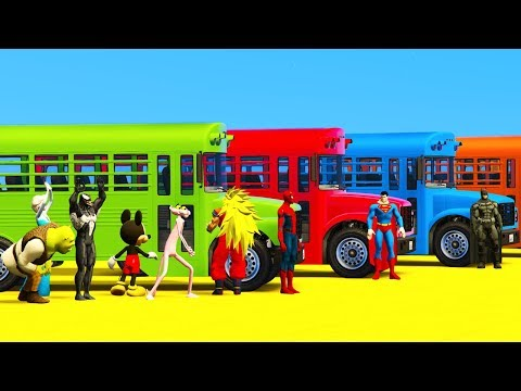 Thumbnail: Learn Colors School Bus with Superheroes Cartoon For Toddlers & Spiderman Cars Babies Animation