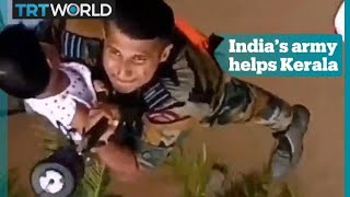 Indian army steps in to rescue people in Kerala