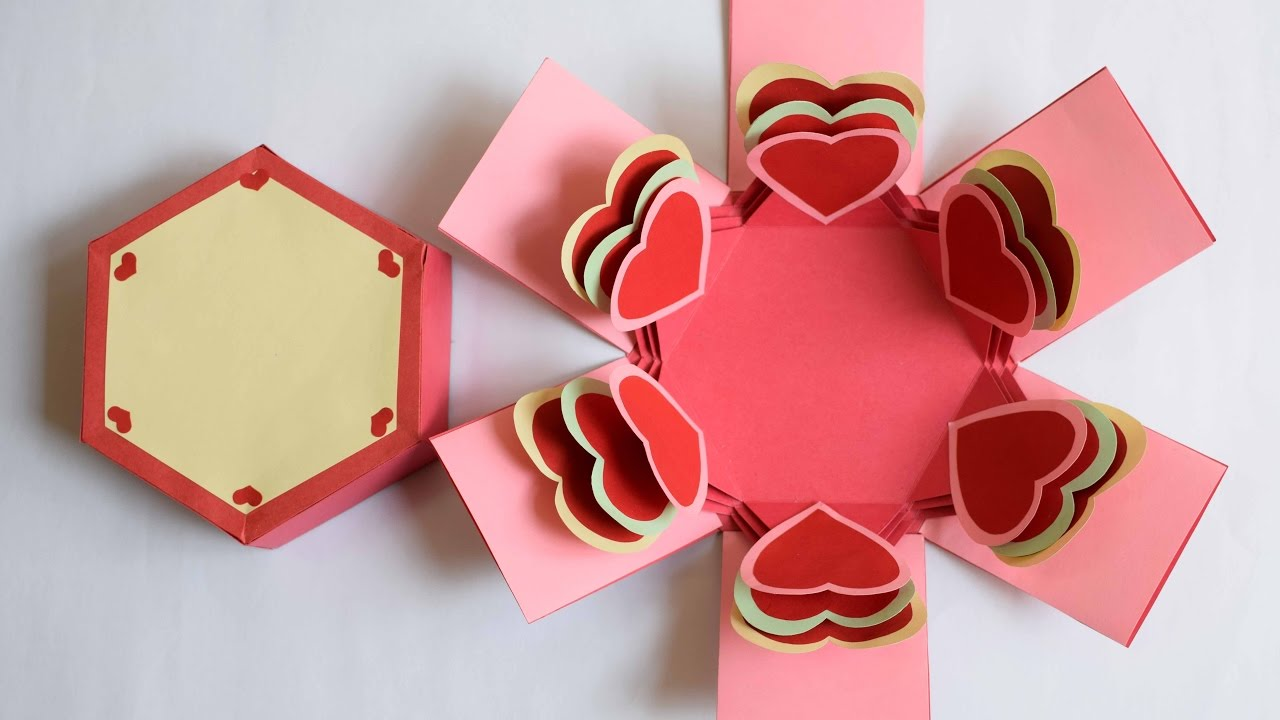 Heart Explosion Box Hexagon Explosion Box Valentine Explosion Box