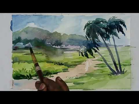 Trees in a Beautiful Landscape | Easy Landscape Painting | watercolour  Painting