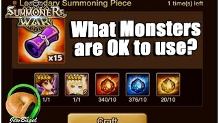 SUMMONERS WAR : Legendary Piece Crafting - What monsters are OK to use?