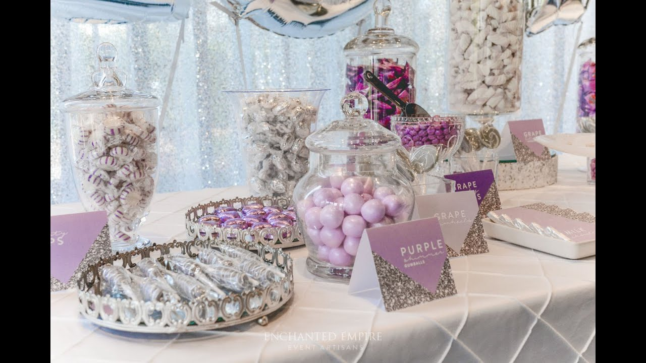 Lilac And Silver Candy Bar For Weddings Styled By