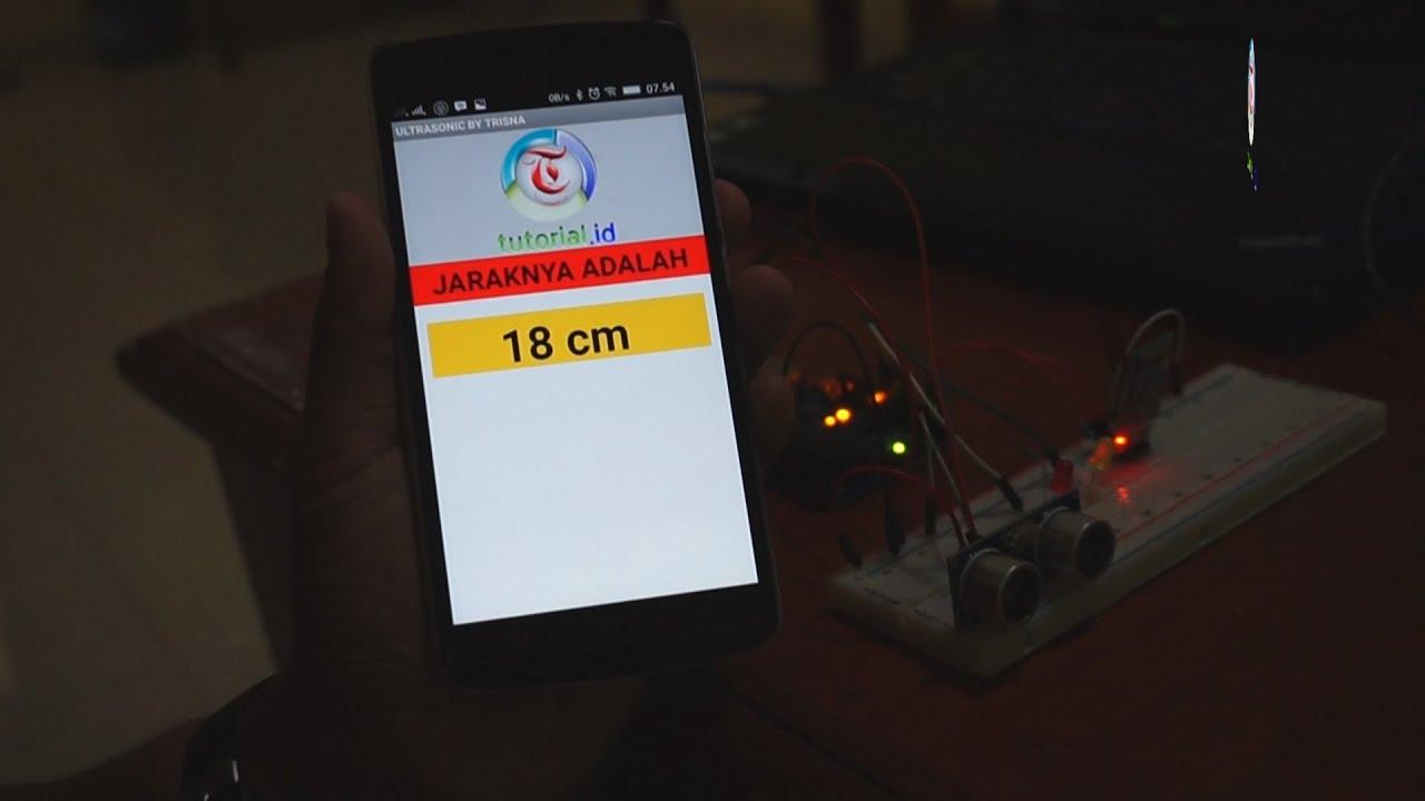 Mengukur jarak menggunakan ultrasonic lewat android youtube
