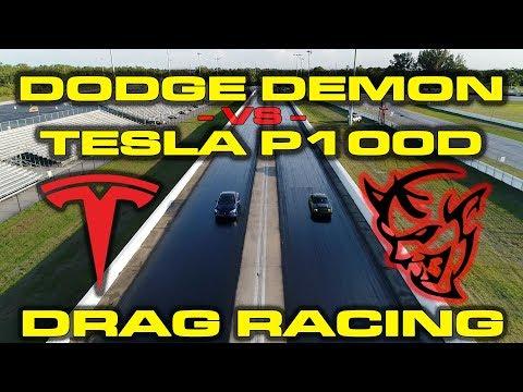 840HP Dodge Demon with Race ECU vs Tesla Model S P100D 1/4 Mile Drag Racing