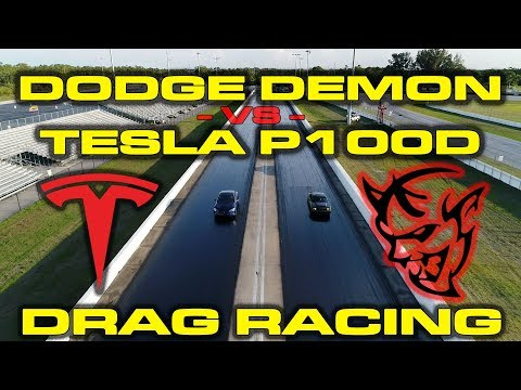 840 HP Dodge Demon vs. Tesla Model S P100D vs. 1/4 Mile Drag Racing