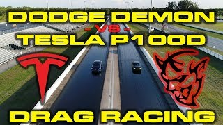 840HP Dodge Demon with Race ECU vs Tesla Model S P100D 1/4 Mile Drag Racing