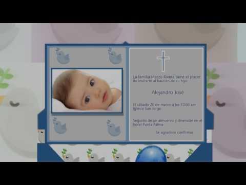 Tarjeta de invitación animada en 3D para Bautizos