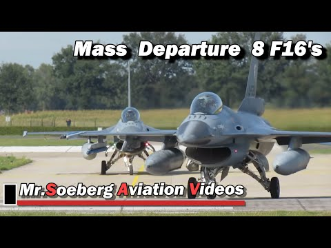 BEAUTIFUL MASS Departure 8x F16 of Netherlands Air Force at Volkel
