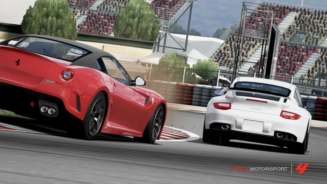 porsche 911 gt2 rs vs ferrari 599 gto catalunya forza motorsport 4 youtube. Black Bedroom Furniture Sets. Home Design Ideas