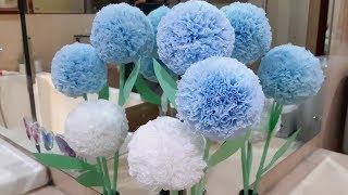 Download Cara membuat bunga bundar pompom cantik dari tissue gulung   Tissue paper flowers Mp3