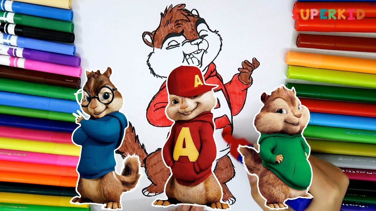 alvin and the chipmunks coloring pages funny learning colors for