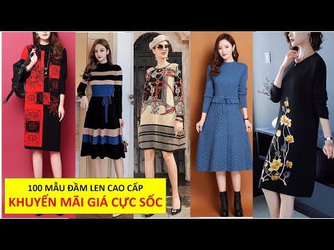 Top 100 Đầm Suông Len dáng dài, đầm len Thời trang trung niên form suông giấu bụng , 55-65kg mặc đẹp
