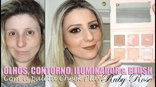 OLHOS/CONTORNO/ILUMINADOR/BLUSH com a paleta CHEEK PLAY - RUBY ROSE