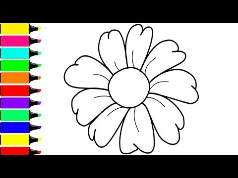 coloring-3-flowers- -paint-for-toddlers-and-drawing-for-kids