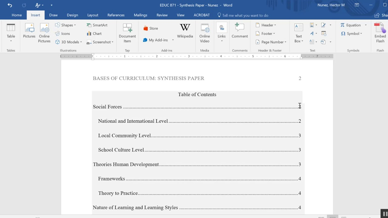 Table of contents apa format word for Table of contents apa style template