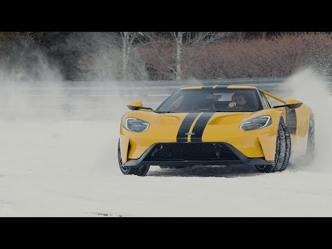 14 Year Old Drifts 2018 Ford GT On Snow-Covered Racetrack