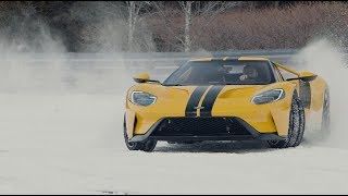 14 Year Old Drifts 2018 Ford GT On Snow-Covered Racetrack thumbnail