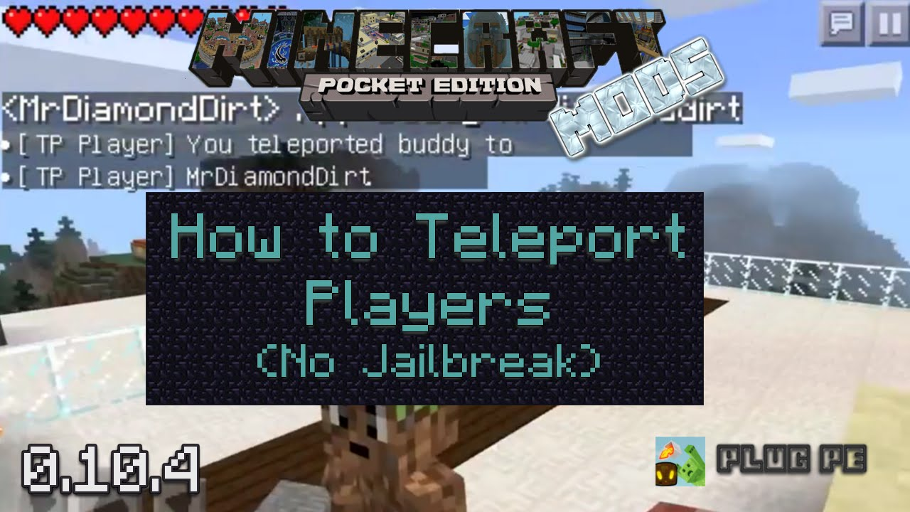Minecraft PE Mods How To Teleport Players No JB YouTube - Minecraft teleport player to