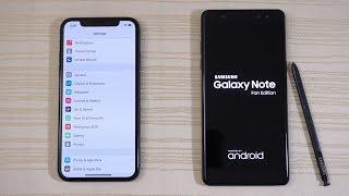 iPhone X vs Galaxy Note FE - Speed Test! (4K)