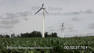 Stock footage of damaged windmills & wind farms.